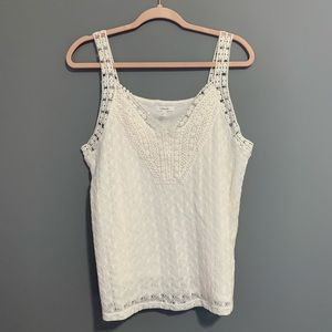 Maurices Soft White Crochet Textured Knit Tank Top